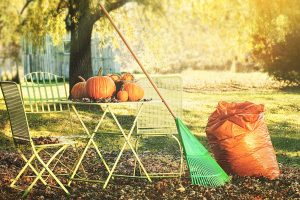 small patio table with pumpkins, leaves and a rake
