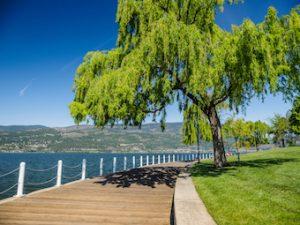 boardwalk with view of Okanagan Lake in Downtown Kelowna