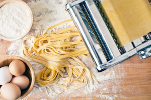 homemade pasta in pasta roller