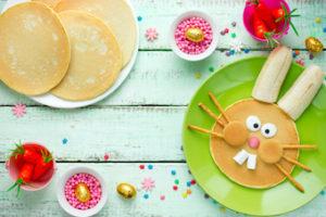 pancakes designed like Easter bunnies