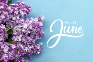 floral background with hello June wording