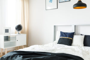 modern guest bedroom with light accent decor