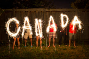 fireworks spelling out Canada