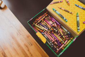box of crayons on table of Okanagan home