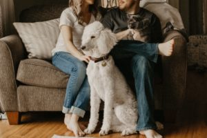 young couple sitting on couch with pets