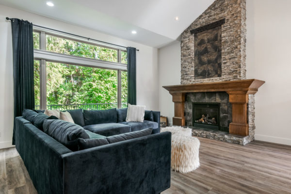 stone fireplace Quincy Vrecko Kelowna Real Estate