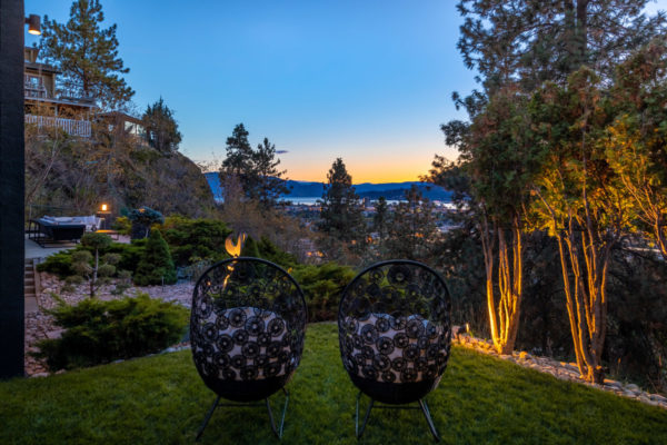 private setting overlooking downtown Kelowna